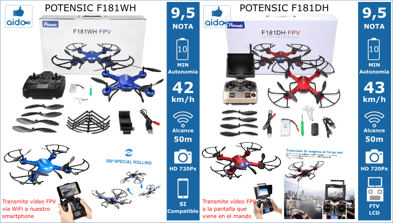 Caracteristicas Drones Potensic F181WH y F181DH